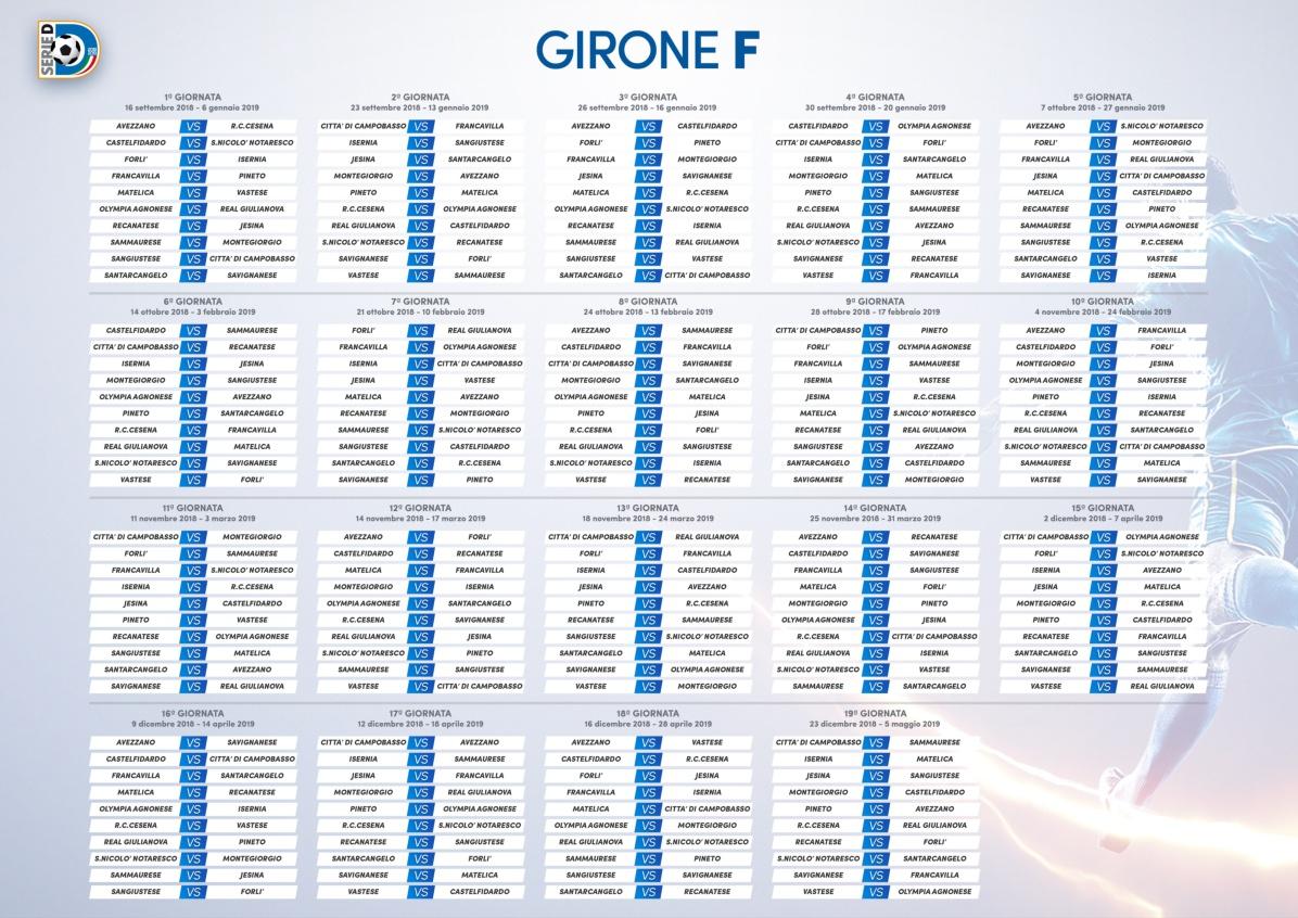 Serie D Girone D Calendario.Calcio Serie D Il Calendario Del Girone F Dell Isernia Del