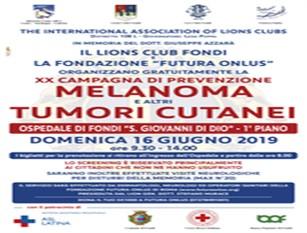 Screening gratuito del melanoma, a Fondi una giornata di prevenzione gratuita Prevista il prossimo 16 giugno