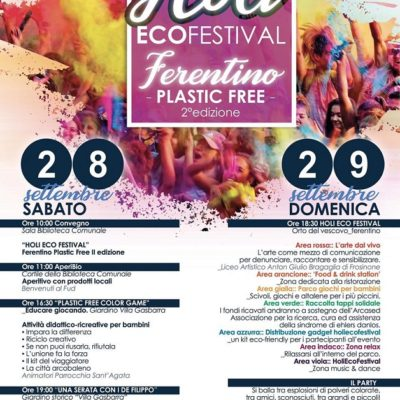 Holi Ecofestival Ferentino: tutto pronto per la II edizione Due coloratissimi giorni dedicati al rispetto e alla difesa dell'ambiente