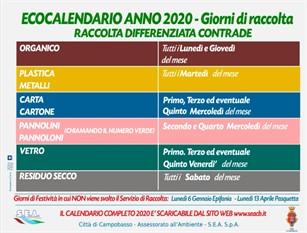 Scaricabili online i nuovi calendari per la raccolta differenziata a Campobasso In distribuzione nei prossimi giorni anche la versione cartacea
