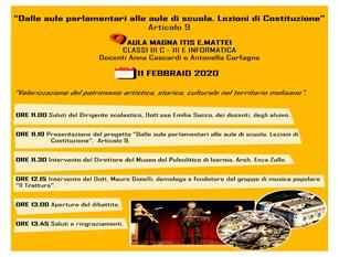 """Isernia, incontro all'ITIS """"Mattei"""": La cultura nella Costituzione italiana"""