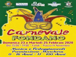 Carnevale Fondiano 2020 in programma domenica 23 e martedì 25