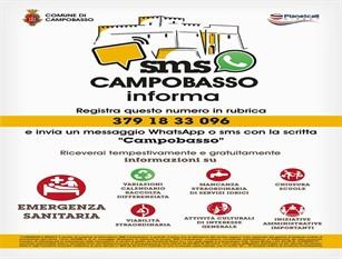 Emergenza Covid 19 a Campobasso parte un nuovo servizio, SMS e WHATSAPP per informare la cittadinanza in modo più veloce e capillare