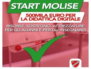 """Regione Molise, 500.000 euro per la didattica digitale. Pubblicato avviso del provvedimento che rientra nel pacchetto """"Start Molise"""""""