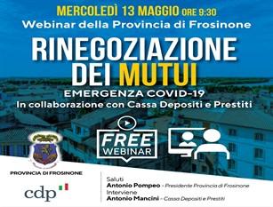 Rinegoziazione dei mutui con Cassa Depositi e Prestiti per l'emergenza Covid-19 Il presidente della Provincia Pompeo organizza un webinar per i Comuni