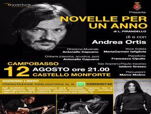 """Agosto in città 2020 – Eventi di mercoledì 12 agosto Al castello Monforte di scena Andrea Ortis con """"Novelle per un anno"""""""