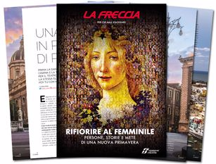 Fs Italiane, La Freccia dedica il numero di marzo all'universo femminile Un caleidoscopico puzzle composto da innumerevoli volti di donna dal quale emerge in primo piano quello della Primavera di Botticelli.