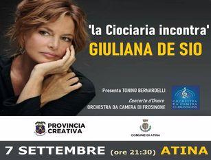 La Ciociaria incontra Giuliana De Sio Martedì 7 settembre l'attrice sarà ad Atina per iniziativa della Provincia