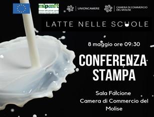 """Programma """"Latte nelle scuole"""" iniziativa della CCIAA del Molise Verrà presentato in  conferenza stampa il prossimo 8 maggio"""