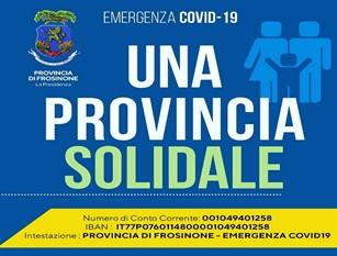 Frosinone: 'Provincia Solidale', conto operativo e primo versamento dell'Ente di 20.000 euro