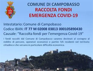 L'Amministrazione Comunale di Campobasso delibera la variazione del bilancio di previsione in via d'urgenza e attiva il conto corrente per la Raccolta Fondi per l'emergenza Covid-19