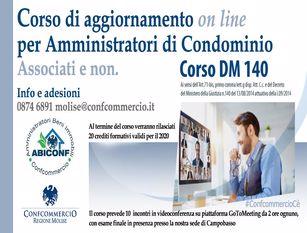 Amministratori di condominio, formazione obbligatoria 2020 Abiconf e Confcommercio Molise: 10 incontri in videoconferenza su Aggiornamento D.M. 140