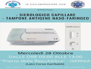 """A Isernia il 28 ottobre test sierologici e tamponi nasofaringei rapidi per tutti A cura di  """"Isernia soccorso"""" e """"Croce azzurra"""". 30 euro il costo"""