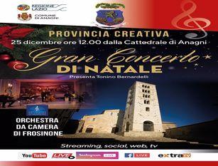 """""""Il Gran concerto di Natale"""" in diretta streaming, web e tv a cura della provincia di Frosinone"""