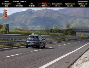 """""""Roadpol Speed"""": i risultati di una settimana di controlli mirati della velocita' della Polizia Stradale"""