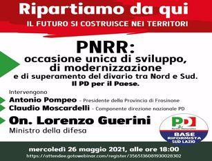 Le opportunità del PNRR per la crescita e la modernizzazione L'iniziativa del presidente della provincia di Frosinone Antonio Pompeo con il Ministro della Difesa Lorenzo Guerini