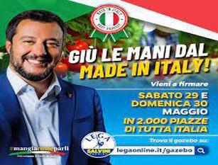 """Molise: gazebo Lega per #mangiacomeparli. Petizione in difesa di cibo vero e madeinitaly. Salvini, """"grande manifestazione nazionale dopo un anno di chiusure"""""""